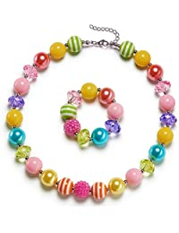 Rainbow Little Girls Chunky Bubblegum Necklace and Bracelet Set Kids Birthday Day Gift