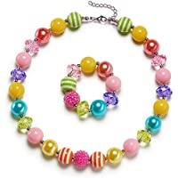 vcmart Rainbow Little Girls Chunky Bubblegum Necklace and Bracelet Set Kids Birthday Day Gift