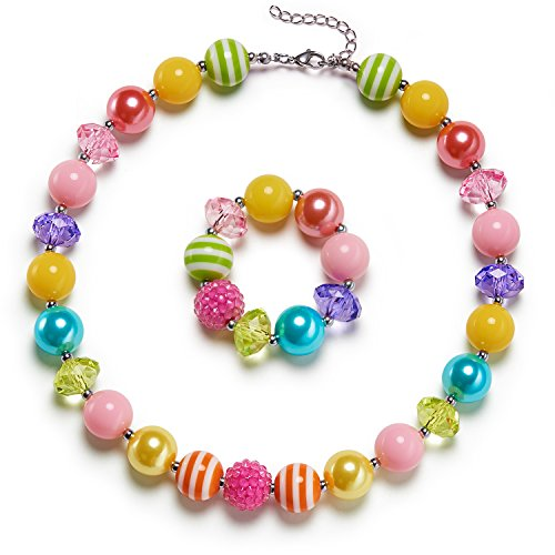 vcmart Rainbow Girls Chunky Bubblegum Necklace and Bracelet Set Girls' Birthday Day Gift