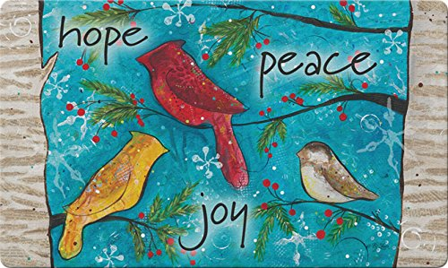 Toland Home Garden Peace Birds 18 x 30 Inch Decorative Floor Mat Christmas Hope Peace Joy Bird Doormat Chickadee Hose Holder