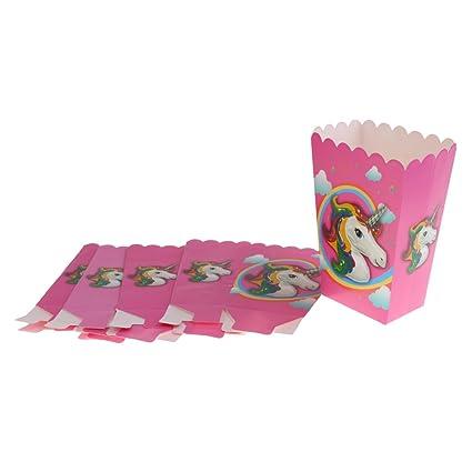 MagiDeal 6 Piezas Cajas Palomitas Maíz Unicornio Mágico Snack Caja Bolsas Fiesta Cumpleaños