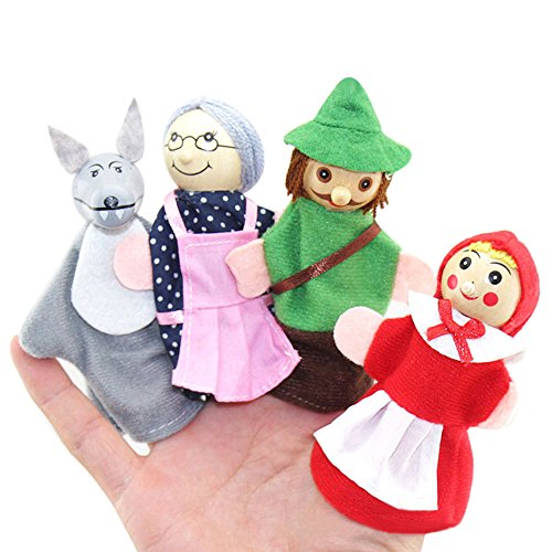 Catnew Little Kids Play Toys Red Riding Hood and Wolf Fairy Story Play Game Finger Puppets Toys Set