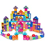 Set of 90 Colorful Wooden Building Blocks