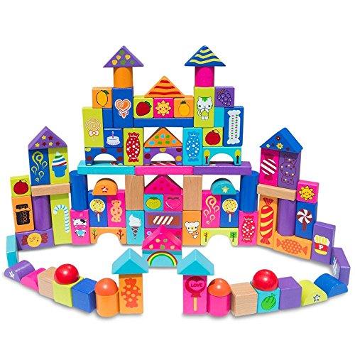Set of 90 Colorful Wooden Building Blocks by BestPysanky