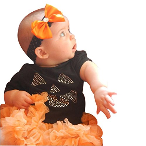 Cutest Halloween Costumes For Girls - Baby Halloween Costume! Sagton Newborn Baby Girl Boy Outfits Set Tulle Tutu Dress Romper Tops+Leg Warmers+Headband (12-18M)