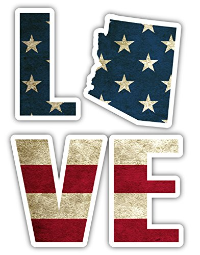 Love Arizona AZ Phoenix State Shape Vintage American Flag St