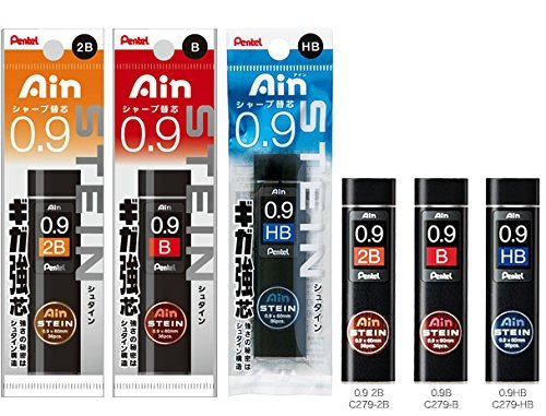 Pentel 0.9 Refill 3-piece Set 2BBHBAS for PG1019/519, Packaged Ain Stein Lead, 0.9 mm HB, B, 2B, Tube of 36pcs (XC279-HB,B,2B), 1 Each