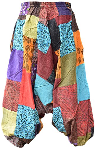 Cotone Hemp Kathmandu Pantaloni A Harem Patchwork Little Casuale 6qREC