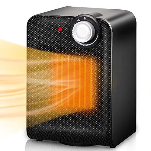 - Trustech Electric Space Heater, Portable Ceramic Heater with 1500W Adjustable Thermostat, Tip-Over & Overheat Protection, 3s Instant Warm, Oscillating, Home Floor Desk Fan Office Garage Indoor Use