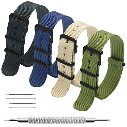 Nato Strap 4 Packs - 20mm 22mm Premium Ballistic Nylon Watch Bands Zulu Style ((Black buckle)Black+Army Green+Navy Blue+Khaki, - Style Watch Peoples