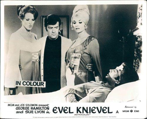 George Hamilton lying in bed Evel Knievel Sue Lyon lobby card (Lyon Bed)
