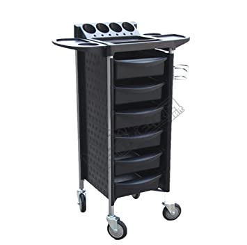 Black Salon Trolley Storage Cart Coloring Beauty Barber Hair Dryer Rack Stylist Equipment with Wheels,