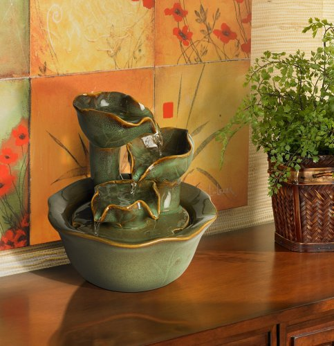 Organic Water Lily Ceramic Tabletop Fountain