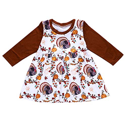Babibeauty Thanksgiving Baby Girl Long Sleeve Dress Pumpkin Peacock Print Skirt (Red, 70/6-12 Months)