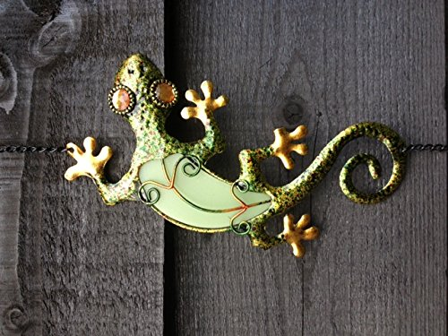 Pretty Hanging Metal With Glow In The Dark Glass Lizard/Gecko Wind Chime Bell (D G) Patio and terrace