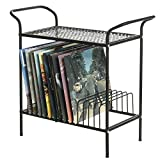 2-Tier Modern Matte Black Lattice Style Metal Turntable and Vinyl Record Storage Organizer Table Stand