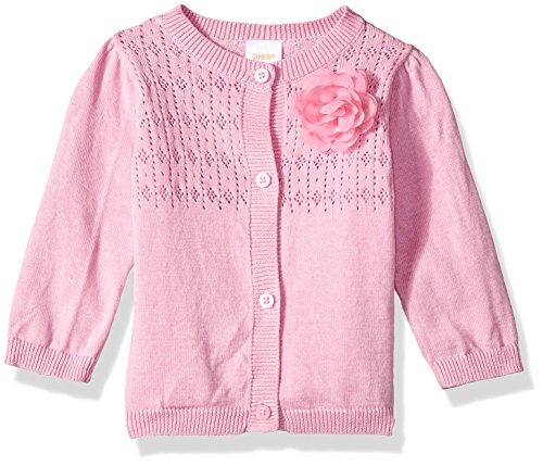 Gymboree Baby Girls Long Sleeve Classic Cardigan, Pink Pointelle Knit, 6-12 mo