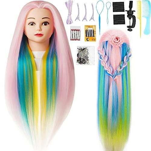 Cabeza  practica de peluqueria 29 pink multicolor