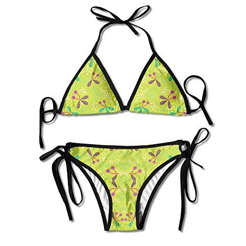 3D Flower Print Cherries & Dots On Chartreuse Medium Fabric (3474) Custom Sexy Beach Swimwear Women's Triangle Bralette Bikini Set Of 2