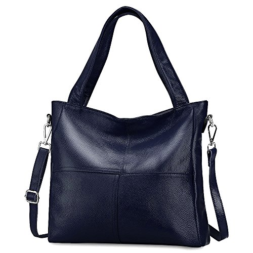 S-ZONE Women's Ladies' Cowhide Genuine Soft Leather Tote Fashion Classic Lightweight Bonzer Shopping Purse Handbag Crossbody Shoulder Bag Red Blue