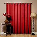 """Best Home Fashion Wide Width Thermal Insulated Blackout Curtain - Antique Bronze Grommet Top - Cardinal Red - 100""""W x 84""""L - Tie back included (1 Panel)"""