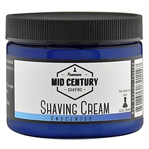 Mid Century Shaving Cream - Unscented - For Creating Shave Lather with a Brush - Soap Based, Vegan - For Sensitive - Best Shave