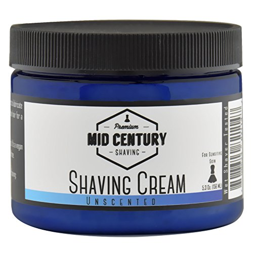 Mid Century Shaving Cream - Unscented - For Creating Shave Lather with a Brush - Soap Based, Vegan - For Sensitive (Best Ddi Shaving Creams)