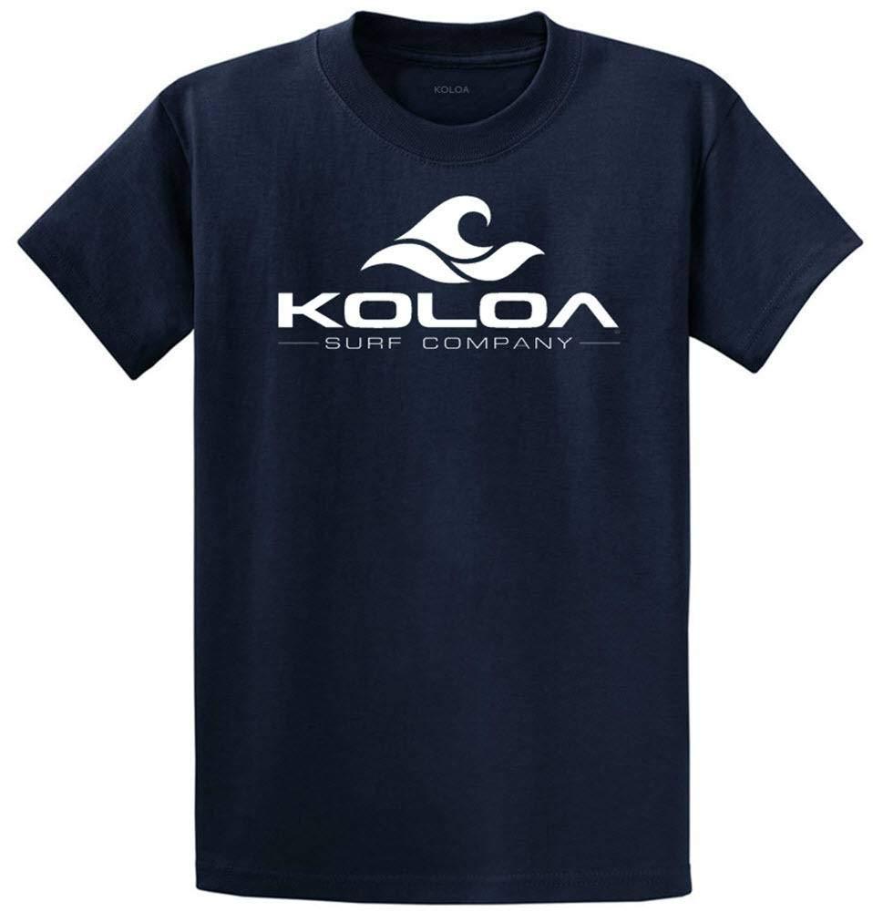 Koloa Surf Classic Wave Logo Cotton T-Shirt-5X-Large,Navy/w