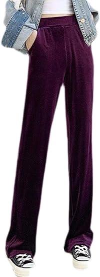 FRPE Women's Solid Color Loose Velvet Elastic Waist Wide Leg Pants