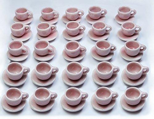 40 Pcs Dollhouse Miniature Pink Ceramic Coffee/Tea Cups & Saucers ()