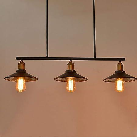 BFUCBEWF Viento Industrial 3 Llama Lámpara Colgante Retro E27 ...
