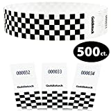 Goldistock Select - Black Checkerboard - 3/4'' Tyvek Wristbands- 500 Count - Event Identification Bands (Paper - Like Texture)