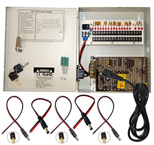 Evertech 16canales 12V DC salida CCTV Distributed Power Supply Caja para cámara de seguridad con 18Pcs. DC macho...