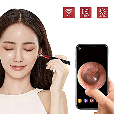Ear Camera -1080P FHD Wireless Ear Scope, WiFi Ear Endoscope, Ear Otoscope Camera with 3-Axis Gyroscope, Dual Systems Temperature Control, Compatible iOS and Android for Adult,Children & Veterinary