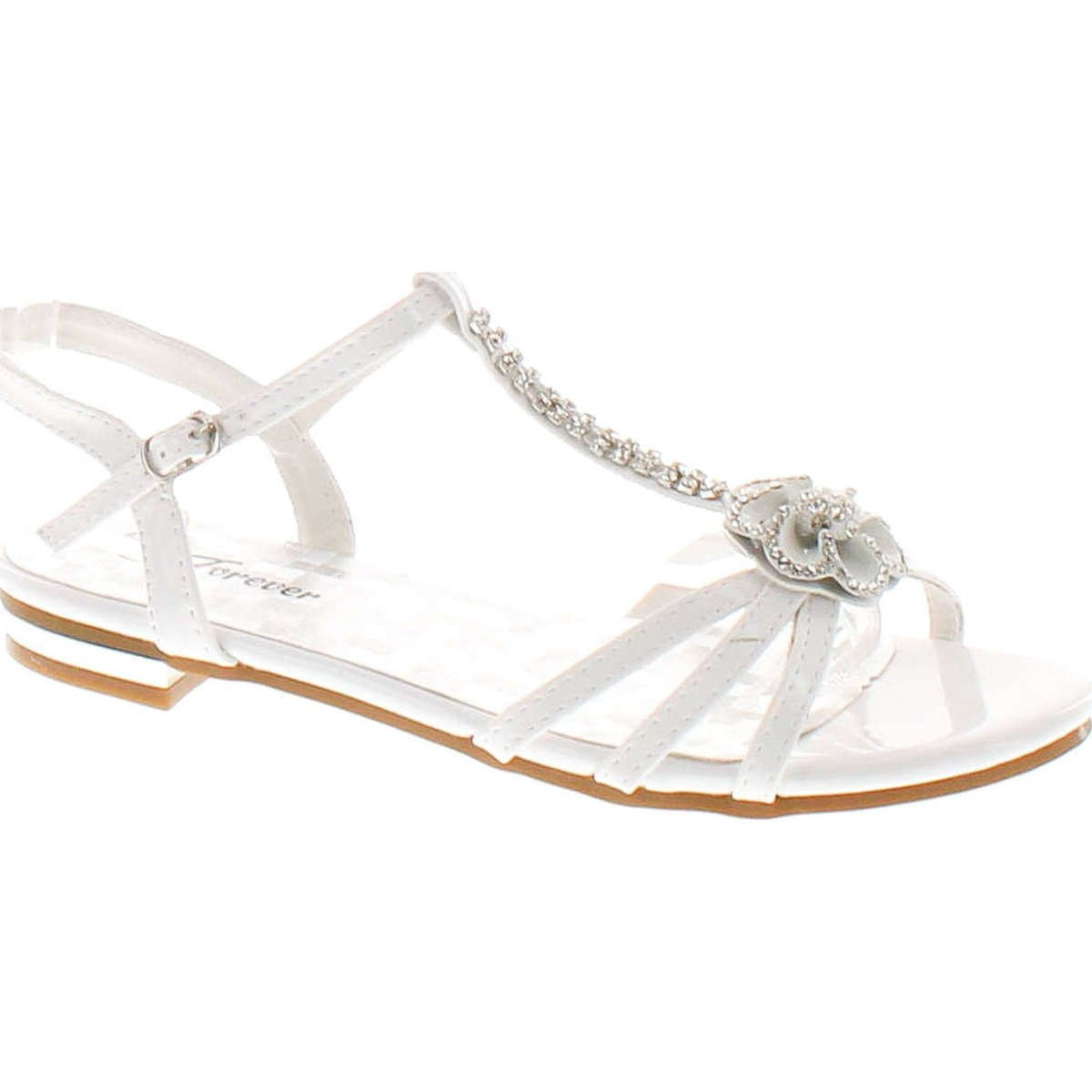 Forever Nora-69 Womens Open Toe Flat Wedding Party Dress Sandal Shoes,White,10