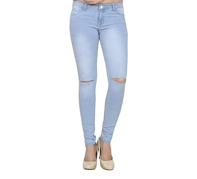clearance prices select for best super cheap Fashion205 Channel-F Ice Blue Knee Cut Ankle Length Women's Jeans