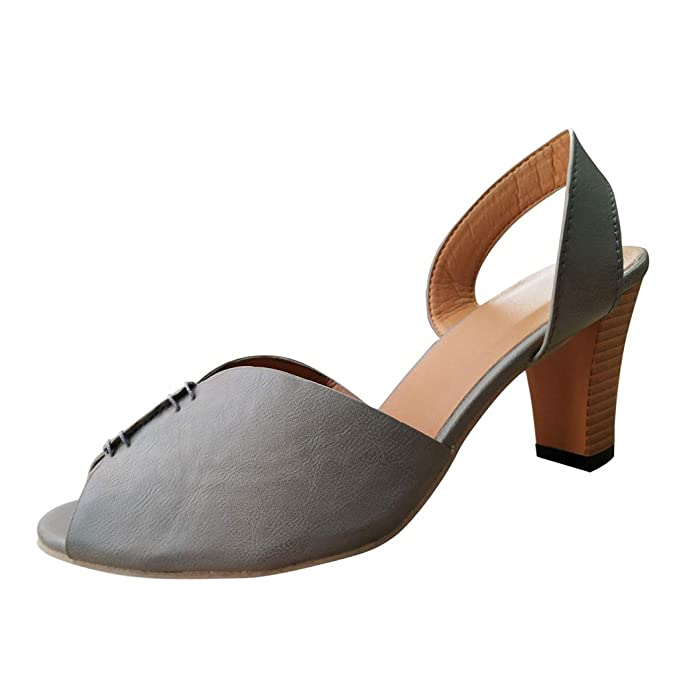 Amazon.com: Sandalias elegantes de tacón cuadrado para mujer ...