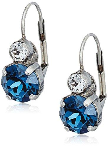 Tigers Round Crystal Earrings - sorrelli battle blue round crystal french wire drop earrings