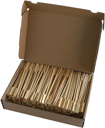 12 cm Pinchos de madera para hamburguesas de bamb/ú con extremo ancho de madera Vossle en caja de cart/ón
