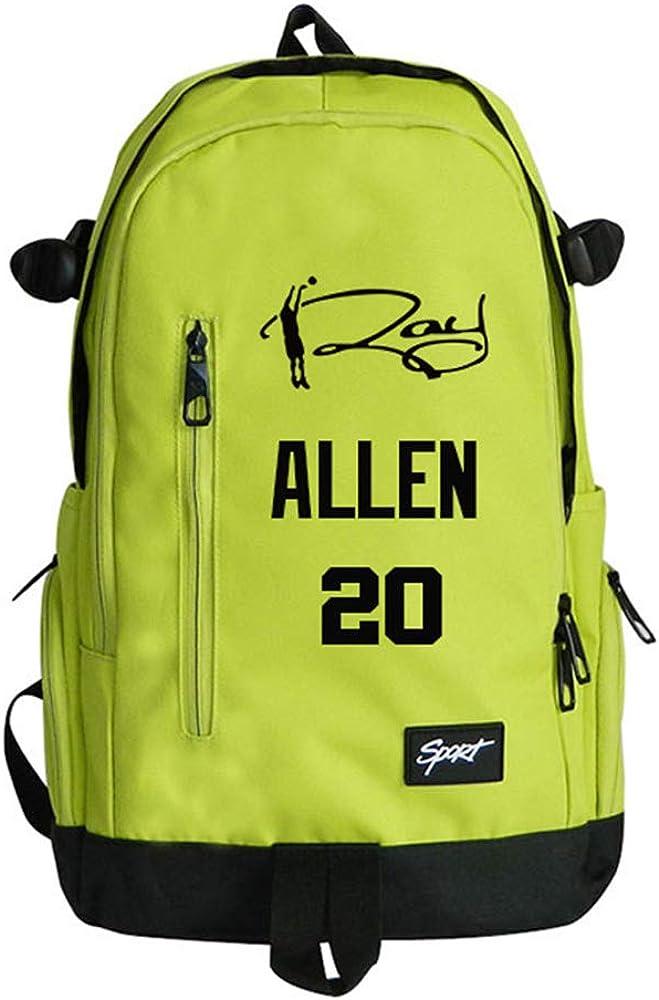 TFTREE Ray Allen 20e sac de sport de basket-ball /étudiants de sexe masculin et f/éminin sac /à dos ordinateur sac en toile casual grande capacit/é fermeture /éclair sac /à dos rouge vert