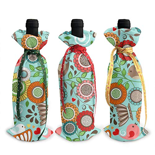 3Pcs Decoration Wine Bottle Covers Bags,Champagne Bags,Colorful Floral Scandinavian Folk Art With Birds,Table Decor For Wedding,Party,Holiday,Christmas,Hotel,Bar,Kitchen