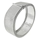 Wide Square Diamond-cut Cleopatra Bangle Bracelet Sterling Silver 7.5in