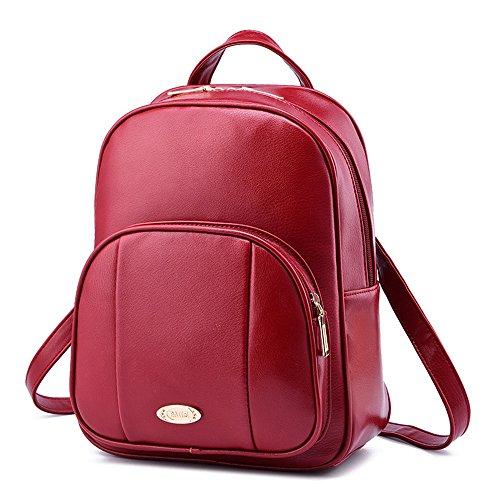Wewod Red Backpack Women Pu Waterproof Leather Backpack Leisure Travel Bag Fashion Style Girls 25 X 32 X 12 Cm (lxhxw)