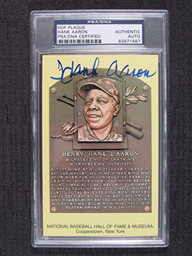 Hank Aaron Signed Auto Autograph Scenic Art HOF Plaque Postcard PSA/DNA from JP's Sports/Rock Solid Promotions, Inc.