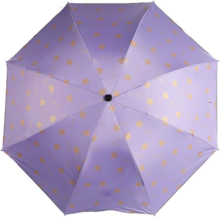 JUNDY Paraguas Compacto y Resistente al Viento, Paraguas Plegable, Conveniente para Viajes Sombrilla de plástico Negro Parasol Protector Solar color4 90cm: Amazon.es: Hogar