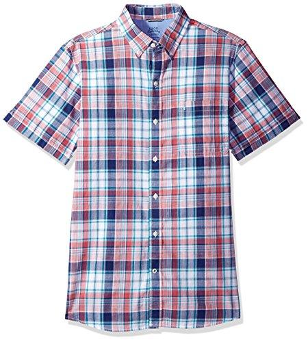 Chambray Plaid Shirt (IZOD Men's Saltwater Dockside Chambray Plaid Short Sleeve Shirt, Rapture Rose, Medium Slim)