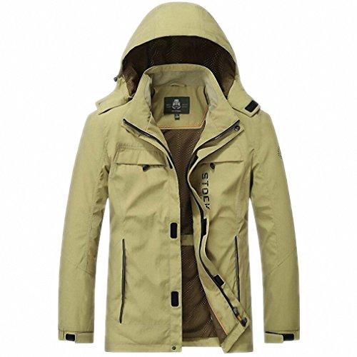 NEW Jacket Men Windbreaker Outwear Jackets Casual Loose Hooded Collar Pockets Bomber Jackets at Amazon Mens Clothing store: