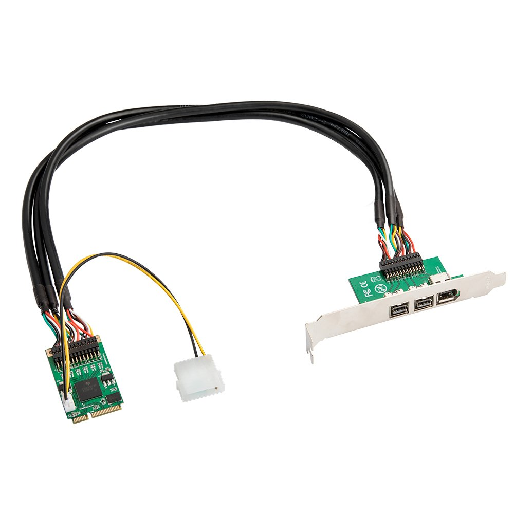 I/O CREST FireWire 800 (9-Pin) IEEE 1394b 2 Port and Firewire 400 (6-Pin) IEEE 1394a 1 Port to Mini PCIe Controller Card by I/O CREST