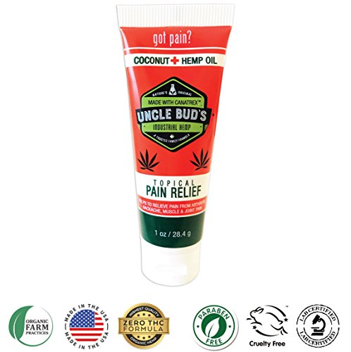 Natural Stress Reliever - Uncle Bud's Topical Pain Reliever, Hemp Oil for Pain Reduction, Stress Support, Achy Muscle Relief, Fast Acting, Natural Anti Inflammatory, Sooth Arthritis & Common Athletic Injuries, Natural (1oz)
