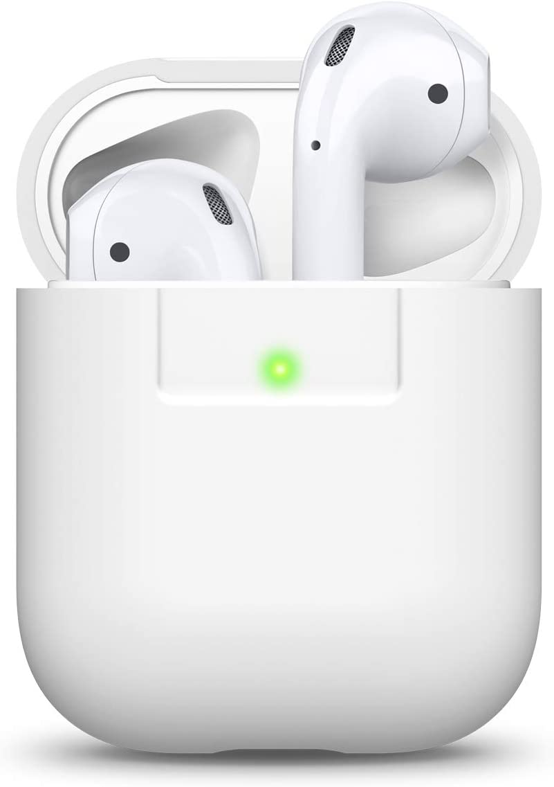 elago Funda Silicona Compatible con Apple AirPods 1 & 2 (LED Frontal Visible) - Soporta Carga inalámbrica, Extra Protección (Blanco)
